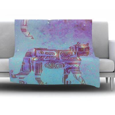 Panther at Night by Marianna Tankelevich Fleece Throw Blanket Size: 90 H x 90 W x 1 D