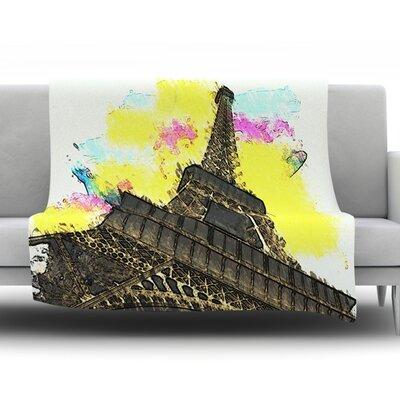 Eifel - Bon Jour by Oriana Cordero Fleece Throw Blanket Size: 60 H x 50 W x 1 D