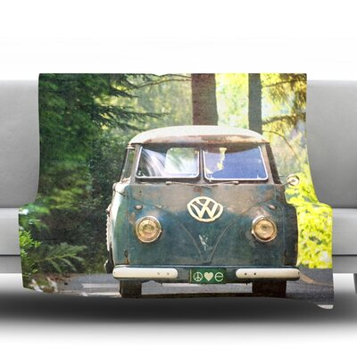 Peace Love Nature Fleece Throw�Blanket Size: 80 L x 60 W