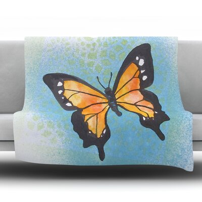 Summer Flutter Fleece Throw Blanket Size: 60 L x 50 W