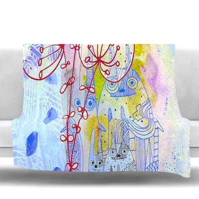 Composition with Bunnies Fleece Throw Blanket Size: 60 L x 50 W