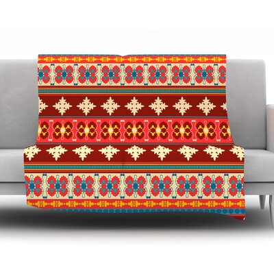 Borders by Nandita Singh Fleece Throw Blanket Size: 60 H x 50 W x 1 D, Color: Red