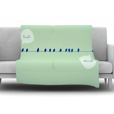 Tweeting by Robin Dickinson Fleece Throw Blanket Size: 80 H x 60 W x 1 D