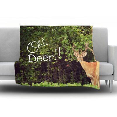Oh Deer by Robin Dickinson Fleece Throw Blanket Size: 90 H x 90 W x 1 D