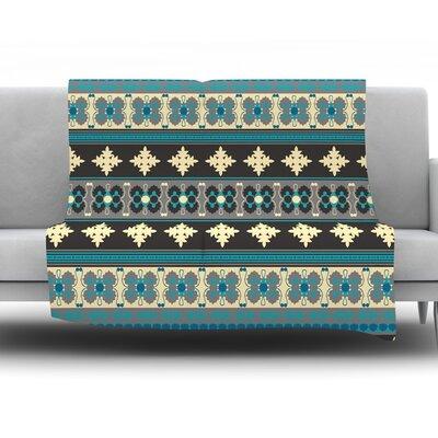 Borders by Nandita Singh Fleece Throw Blanket Color: Blue, Size: 80 H x 60 W x 1 D