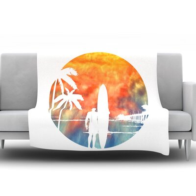 Waiting by Micah Sager Fleece Throw Blanket Size: 60 H x 50 W x 1 D