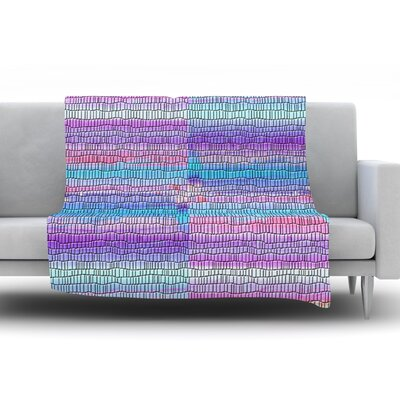 Drip Dye Strid by Nina May Fleece Throw Blanket Size: 80 H x 60 W x 1 D