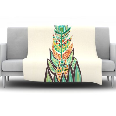 Tribal Feather by Pom Graphic Design Fleece Throw Blanket Size: 40 H x 30 W x 1 D