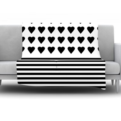 Heart Stripes by Project M Fleece Throw Blanket Size: 80 H x 60 W x 1 D, Color: Black/White