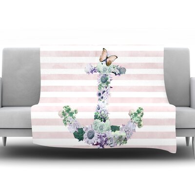 Floral Anchor by Nika Martinez Fleece Throw Blanket Size: 40 H x 30 W x 1 D