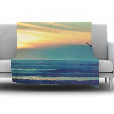 Go Somewhere by Robin Dickinson Fleece Throw Blanket Size: 80 H x 60 W x 1 D