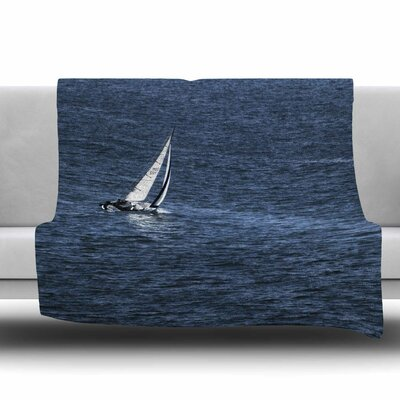 Boat on The Ocean Fleece Throw Blanket Size: 40 L x 30 W
