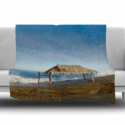 Crashing Waves Near Hut Fleece Throw Blanket Size: 80 L x 60 W