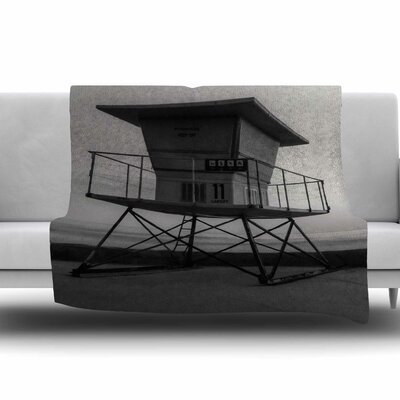 Lifeguard Station at Dusk Fleece Throw Blanket Size: 40 L x 30 W