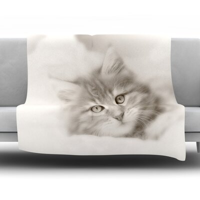 Main Coon Kitten Fleece Throw�Blanket Size: 80 L x 60 W