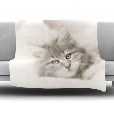 Main Coon Kitten Fleece Throw�Blanket Size: 60 L x 50 W