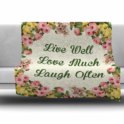 Live Love Laugh Fleece Throw Blanket Size: 40 L x 30 W
