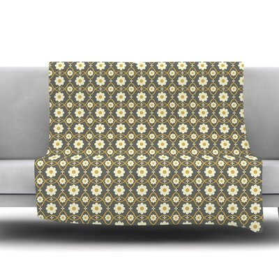 Floral Fleece Throw Blanket Size: 60 L x 50 W, Color: Grey