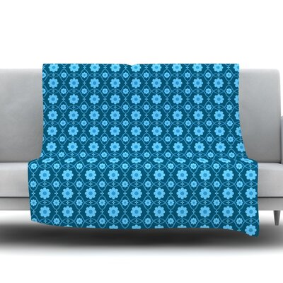 Floral Fleece Throw Blanket Size: 60 L x 50 W, Color: Blue