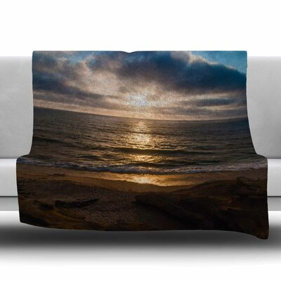 La Jolla Sunset on Beach Fleece Throw Blanket Size: 80 L x 60 W