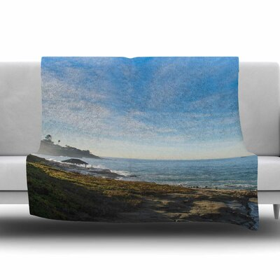 Blue Sky Over The Ocean Fleece Throw Blanket Size: 60 L x 50 W