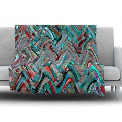 Abstract Wave by Suzanne Carter Fleece Throw Blanket Size: 80 H x 60 W x 1 D