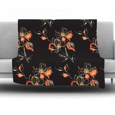 Black Flowers by Louise Fleece Throw Blanket Size: 90 H x 90 W x 1 D