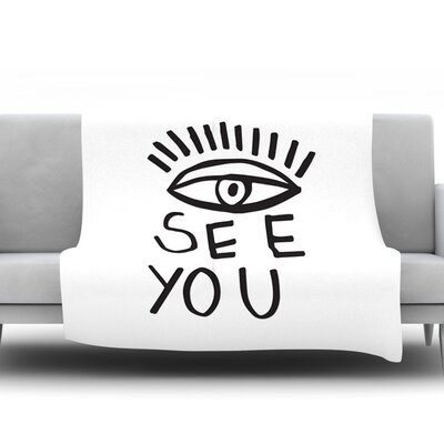 Eye See You by Vasare Nar Fleece Throw Blanket Size: 90 H x 90 W x 1 D