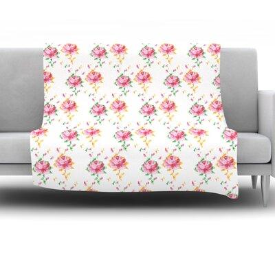 Cross Stitch Flowers by Laura Escalante Fleece Throw Blanket Size: 80 H x 60 W x 1 D