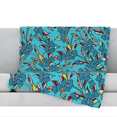 Paper Leaf Fleece Throw Blanket Color: Blue, Size: 60 L x 50 W