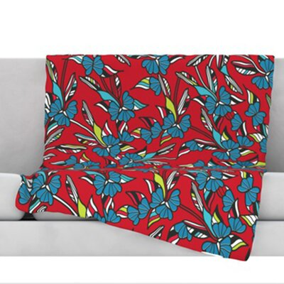 Paper Leaf Fleece Throw Blanket Size: 80 L x 60 W, Color: Red