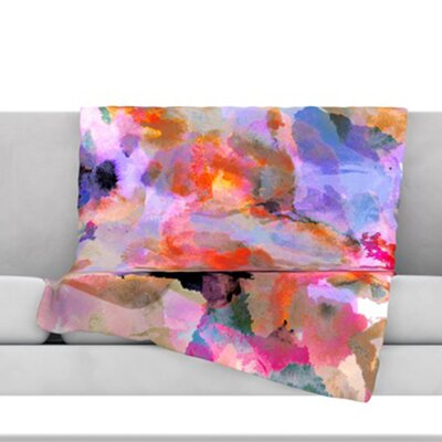 Painterly Blush Fleece Throw Blanket Size: 80 L x 60 W