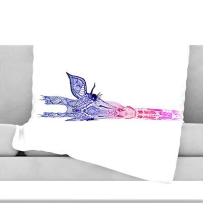 Rainbow Giraffe Fleece Throw Blanket Size: 60 H x 50 W