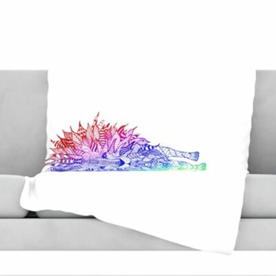 Rainbow Lion Fleece Throw Blanket Size: 40 H x 30 W