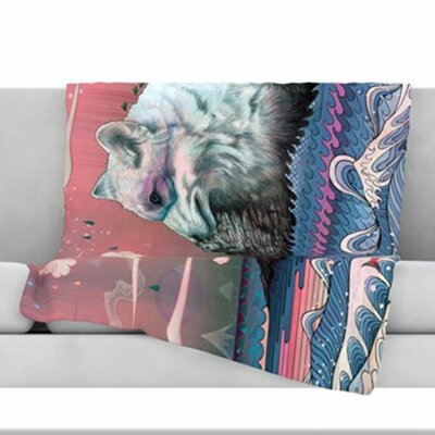 Lone Wolf Fleece Throw Blanket Size: 40 L x 30 W