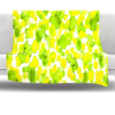 Giraffe Spots Fleece Throw Blanket Size: 60'' L x 50'' W, Color: Lemon Lime