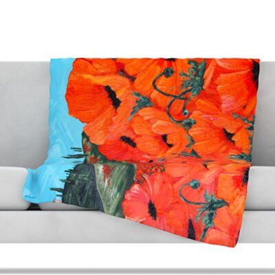 Poppies Throw Blanket Size: 40 L x 30 W