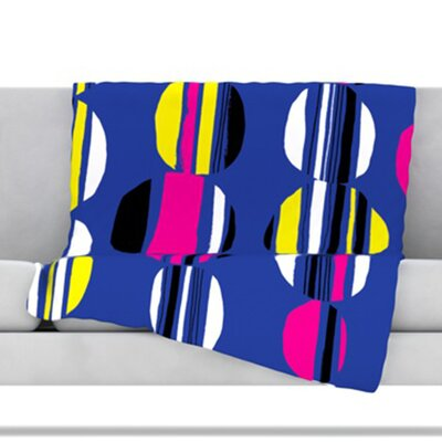 Retro Circles Throw Blanket Color: Cobalt, Size: 80 L x 60 W