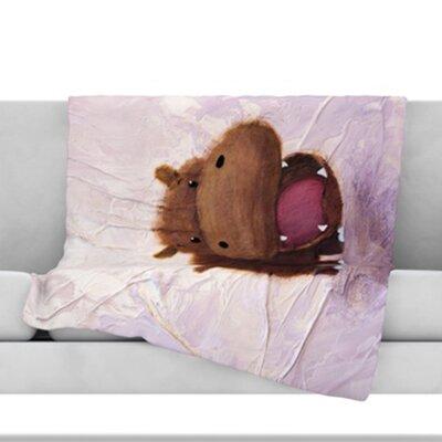 The Happy Hippo Fleece Throw Blanket Size: 60 L x 50 W