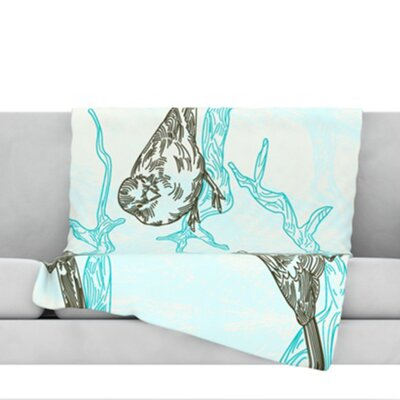 Birds in Trees Fleece Throw Blanket Size: 40 L x 30 W