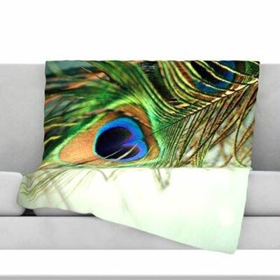Peacock Feather Fleece Throw Blanket Size: 40 L x 30 W