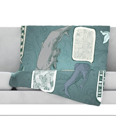 Whale Talk Fleece Throw Blanket Size: 40 L x 30 W