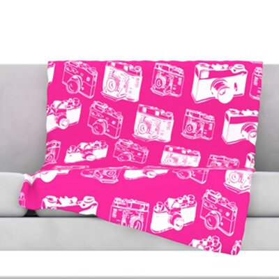 Camera Pattern Throw Blanket Color: Magenta, Size: 60 L x 50 W