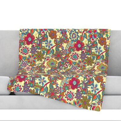 My Butterflies and Flowers Throw Blanket Size: 80 L x 60 W, Color: Yellow
