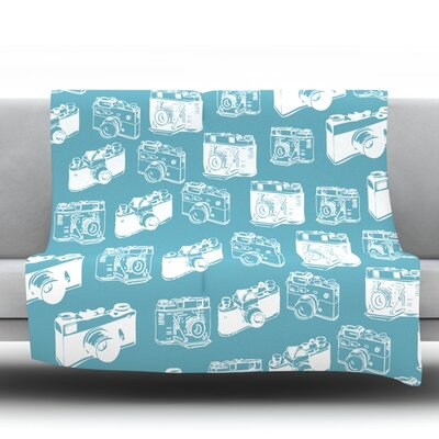 Camera Pattern Throw Blanket Size: 60 L x 50 W, Color: Blue