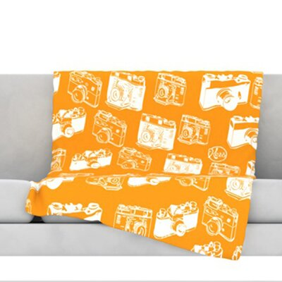 Camera Pattern Throw Blanket Color: Orange, Size: 60 L x 50 W