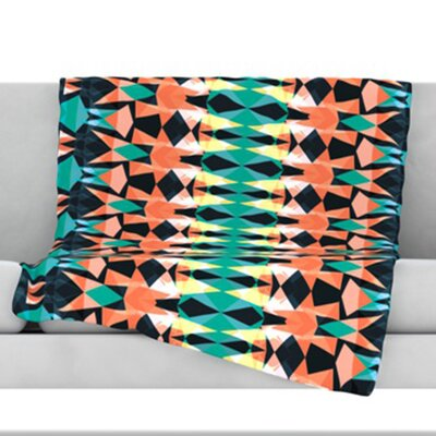 Triangle Visions Throw Blanket Color: Orange/Blue, Size: 80 L x 60 W