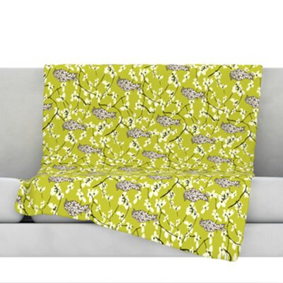 Blossom Bird Throw Blanket Size: 80 L x 60 W