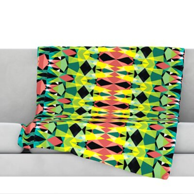 Triangle Visions Throw Blanket Size: 80 L x 60 W, Color: Green/Yellow