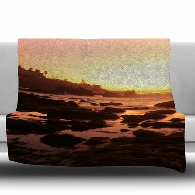 Rocks Of La Jolla Sunset Fleece Throw Blanket Size: 80 L x 60 W